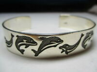 STERLING SILVER 925 ESTATE ORCA WHALE NAUTICAL SOLID 7.25 INCH CUFF BRACELET