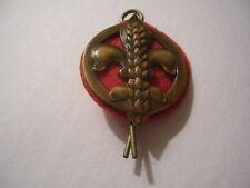 Vintage Boy Scout Fluer-de-lis on Red Felt, Copper-Toned Metal Hat Pin
