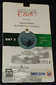 1997 FORMULA 1 PADDOCK CLUB GRAND PRIX PLAYER'S OF CANADA GUEST OF MOLSON - PASS