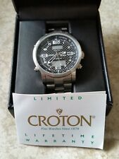 Croton Mens World Time Chronomaster Stainless Steel Watch w/ Case & Instructions