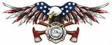 AMERICAN FIREFIGHTER FIRE EAGLE HELMET LAPTOP  MADE IN USA  DECAL STICKER