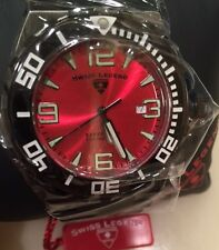 Swiss Legend 10008-BB-05 200M Dive Red Dial Black Stainless Steel HARD TO FIND!
