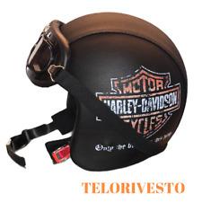 Casco Lungo tipo bandit retrò personalizzato Harley Davidson in pelle Helmet