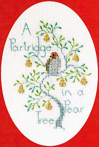 Derwentwater Designs Christmas Cross Stitch Card Kit - Partridge in a Pear Tree