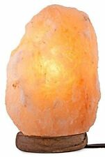 Crystal Decor Hand Crafted Natural Himalayan Salt Lamp On Wooden Base 6""