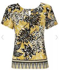 CL19# Wallis Womens Ochre Palm Print Border T-Shirt UK 12