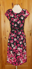 NEXT black pink beige floral short sleeve midi knee party tea dress 10 TALL 38