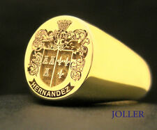 CUSTOM MADE SOLID 9KT GOLD SIGNET RING 14MMX12MM FAMILY CREST ENGRAVED BY JOLLER