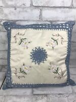 """Vintage Inspired Blue Crochet and Embroidered Floral Throw Accent Pillow 16x16"""""""