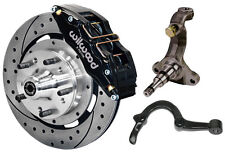 """WILWOOD DISC BRAKE KIT,SPINDLES,ARMS,LINES,FRONT,64-72,12"""" DRILLED,6 PISTON BLCK"""