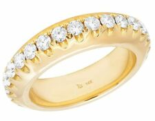 Solid 14k Yellow Gold Real VS Diamond Solitaire Wedding Eternity Band 3 Ct 6.5mm