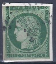 "FRANCE STAMP TIMBRE 2 b "" CERES 15c VERT FONCE 1850 "" OBLITERE A VOIR  M302"