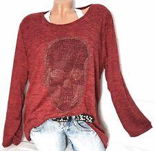 Gr.46-48-50 Strass Damen Pullover Skull (Rot) Pulli Tunika Langarm Shirt