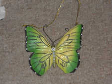 Green Butterfly Christmas Ornament 4 x 4.5in New w/Tags