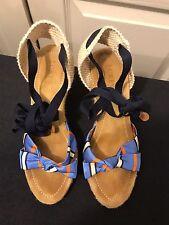 J Crew Women's 6 M Canvas Ankle Wrap Espadrille Wedge Heel Lace Up Sandals