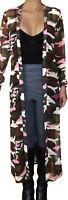 KPP@ Funfash Women Camo Pink Sheer Mesh Kimono Long Duster Cardigan Coat