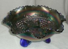 Vintage Fenton Glass Cobalt Blue Carnival Grape And Cable 3 Footed Bowl
