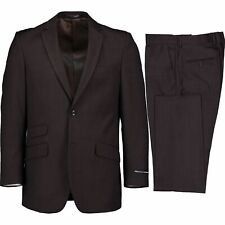 Alberto Cardinali Men's Brown Windowpane Check 2 Button Slim Fit Suit NEW