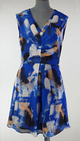 REISS Nieve Blue Fit & Flare  brush Stroke Printed GatheredDetail Dress UK 8
