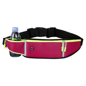Reflective Sports Pocket Running Belt Phone Pouch Waist Bag Water Bottle Holder