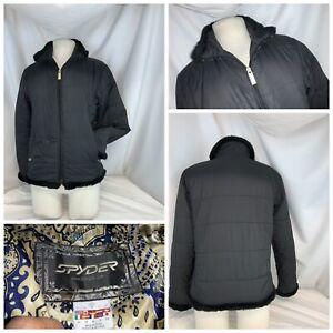 Spyder Ski Jacket Sz 4 Black Poly Full Zip Lined EUC YGI B0-442