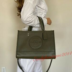 NWT COACH DEMPSEY PEBBLE LEATHER WITH PATCH CARRYALL SHOULDER BAG TOTE C2004