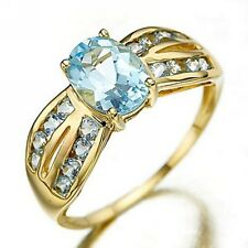 Jewelry Bridal Aquamarine18K Gold Filled Women's Anniversary Rings Size 6,7,8,9
