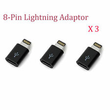 Lot of 3 8-Pin Lightning to Micro USB Adapter Converter fits iPhone 5 6 Plus 6S