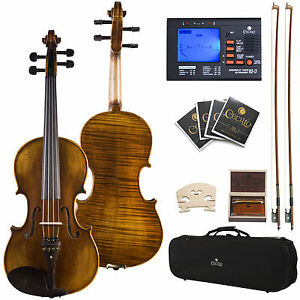 "Cecilio 15"" CVA-600 Viola Size Ebony Fitted Highly Flamed"