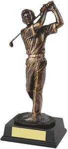 Male Antique Gold Resin Golf Figure FREE ENGRAVING