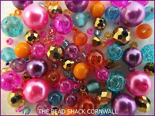 Glass Bead Mix / Bracelet Making Kit -Pink,Purple,Aqua,Orange & Gold - Bollywood