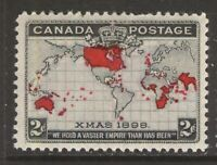 CANADA 85 2c 1898 WORLD MAP AND XMAS STAMP MNH GUM CREASES (#2) CVIS$180