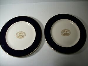 """Aetna Insurance Group Advertising Plates (2) 10 1/2"""" Gold Trim by Sterling China"""