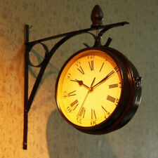 Outdoor Hanging Clock Double Sided Mute Wall Clock for Train Station Black