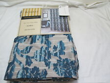 "New Bombay Floral Fabric Shower Curtain 70""x72"" ~ Blue Flowers  NIP"