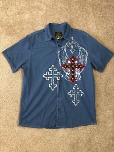 Men America Men's Button Up Large L Casual Shirt Cross Eagle Wings Short Sleeves