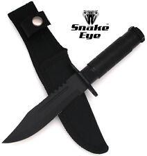 """Snake Eye Tactical Black 8.5"""" Heavy Duty Combat Bowie Knife w/ Survival Kit"""
