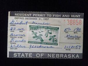 1957 License/Permit To Fish And Hunt Nebraska