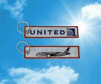 United Airlines Boeing 787 Dreamliner Keychain Keyring Baggage Luggage tag