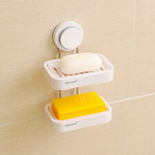 Wall-Mounted Double Layer Draining Soap Dishes Holder Stainless Steel Rack
