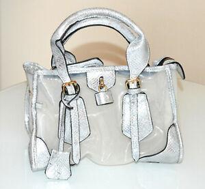 BAG femme gris argent sac de reptile en cuir tronc eco clair pvc femme sac B5