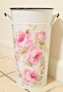 French Bucket/Pail metal shabby hand painted chic roses white vintage flowers