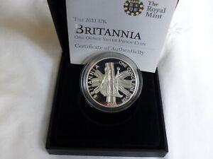 2011 SILVER PROOF BRITANNIA £2 BOXED & CERT. MINT CONDITION.