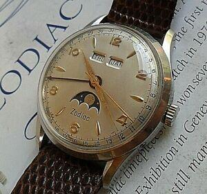 HTF Vintage Men's 1960's Zodiac Triple Date Moonphase Calendar Swiss 17J Watch