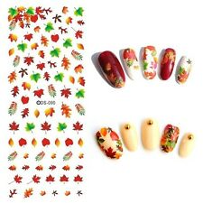 Nail Art Water Decals Transfers Autumn Leaves Winter Fall Gel Polish (90)