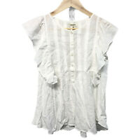 Max Studio White Frill Sleeve Sleeveless Top Size Small New RRP £55.00