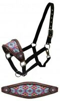 Showman Leather Bronc Halter w/ Navajo Diamond Print Noseband!! NEW HORSE TACK!!