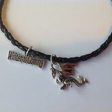 GOT GAME OF THRONES BRACELET WITH 2 CHARMS - WINTER IS COMING & DRAGON + POUCH