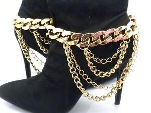 New Pair Boot Chain Shoe Heels Women Layered Draped Straps Extender