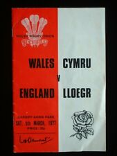 Wales v. England, Cardiff Arms Park 5th March 1977 WRU Programme